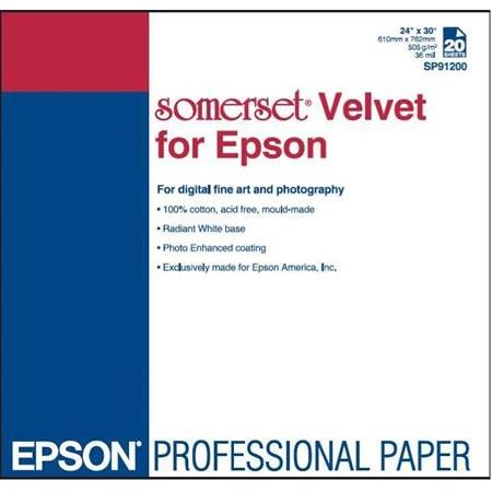 "EPSON S041699 Somerset ""Velvet Fine Art"" Paper for, 24""x30 / 20 sayfa"